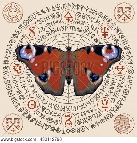 Vector Illustration With A Peacock Eye Butterfly And Magic Runes Written In A Circle On A Light Back