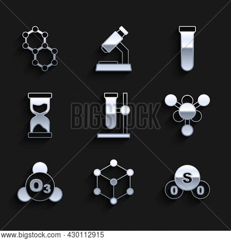 Set Test Tube Flask On Stand, Molecule, Sulfur Dioxide So2, Ozone, Old Hourglass, And Icon. Vector