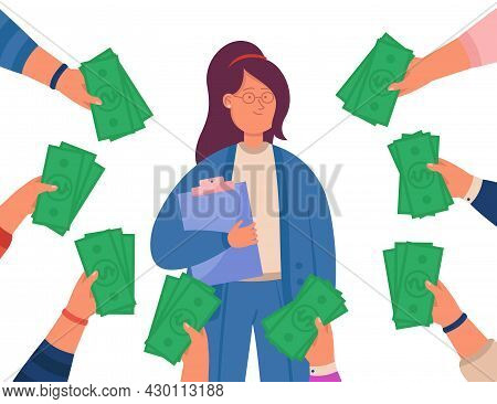 Hands Holding Money And Offering To Female Specialist. Successful Woman Getting Cash And Business Op