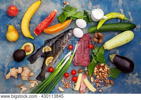 Ketogenic Low Carbs Diet - Food Selection Good For Heart And Blood Vessels. Balanced Healthy Organic