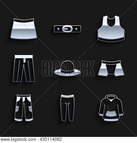 Set Man Hat, Leggings, Hoodie, Men Underpants, Pants, Undershirt And Skirt Icon. Vector