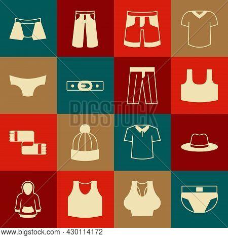 Set Men Underpants, Man Hat, Undershirt, Short Or, Belt, And Pants Icon. Vector