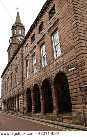 A View Of A Prominent Old Stone Building With Clock Tower In The Northumberland Town Of Berwick Upon
