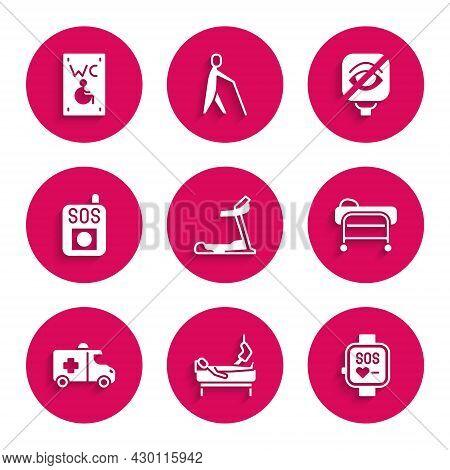 Set Treadmill Machine, Patient With Broken Leg, Smart Watch, Stretcher, Emergency Car, Press The Sos