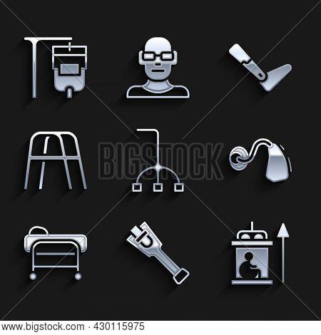 Set Walking Stick Cane, Prosthesis Leg, Elevator For Disabled, Hearing Aid, Stretcher, Walker, And I