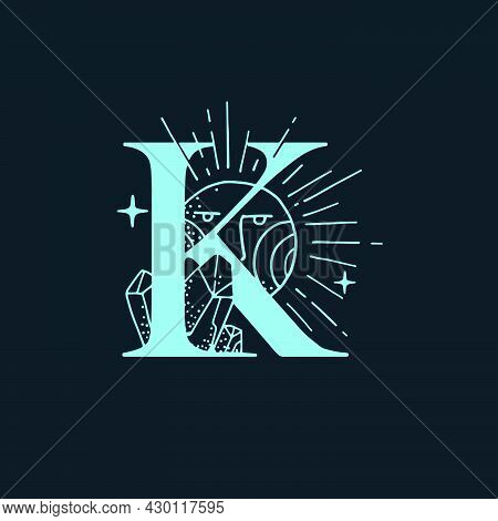 K Letter Logo In The Astrological Style. Hand Drawn Monogram For Magic Postcards, Medieval Style Pos