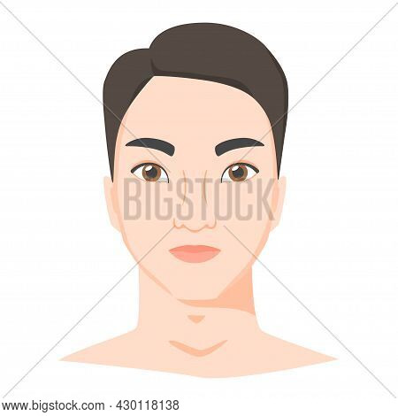 Young Asian Man Face. Male Portrait Of Brunette In Flat Style. Front View. Vector