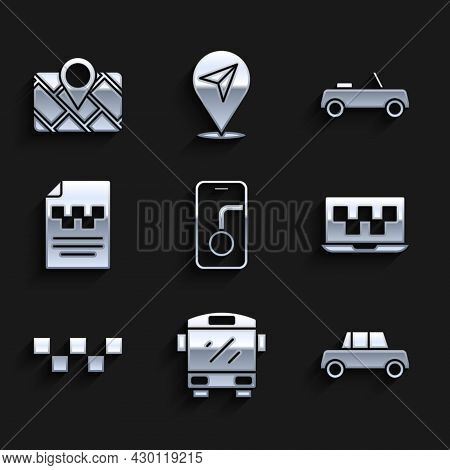 Set City Map Navigation, Bus, Car, Laptop Call Taxi Service, Taxi Car Roof, Driver License, And Gps