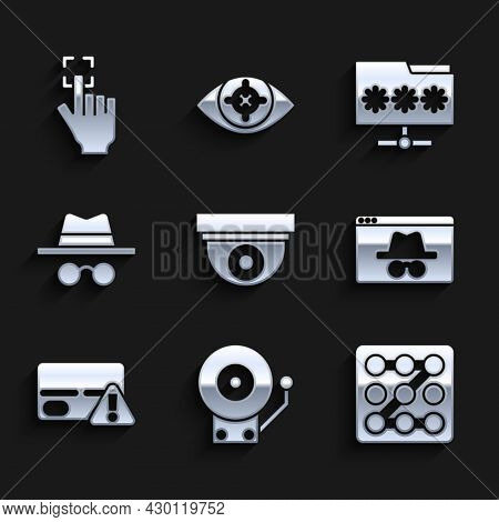 Set Security Camera, Ringing Alarm Bell, Graphic Password Protection, Browser Incognito Window, Cred