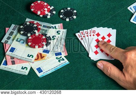 Success In Winning On The Table In A Poker Club With A Combination Of Cards Royal Flush