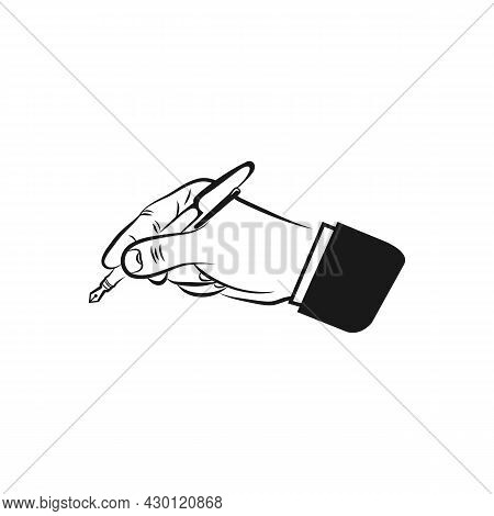 Writing Hand And Pen Icon Vector Logo Template.eps 10