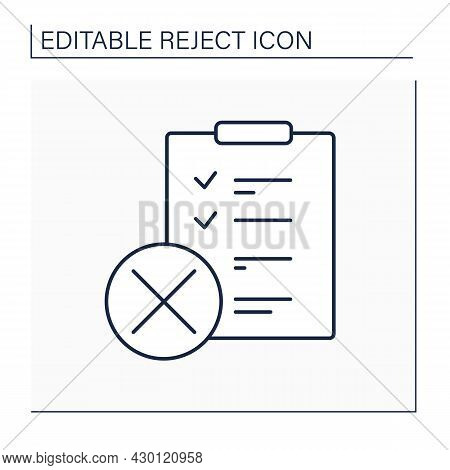 Rejected Checklist Line Icon. Roster Of Pre-vetted Investments. Canceled Legal Lists. Reject Concept