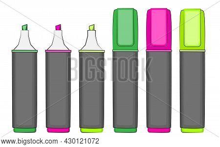 Highlighter Pens Set, School Markers. Vector Illustration.