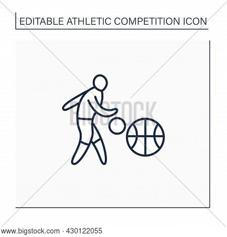 Basketball Line Icon. Team Sport. Shooting Ball Through Defender Hoop. Athletic Competition Concept.