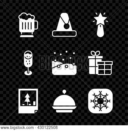 Set Wooden Beer Mug, Christmas Santa Claus Hat, Star, Postcard, Covered With Tray, Snowflake, Glass