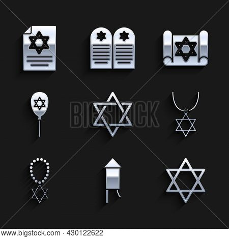 Set Star Of David, Firework Rocket, Necklace On Chain, Balloon With Star David, Torah Scroll And Ico