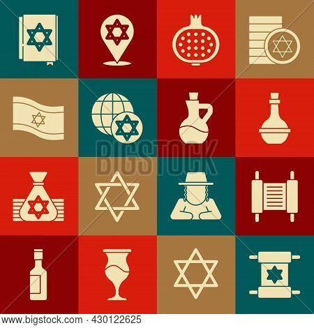 Set Torah Scroll, Jewish Wine Bottle, Pomegranate, World Globe And Israel, Flag Of, Torah Book And B