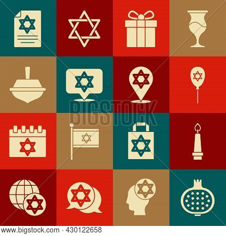Set Pomegranate, Burning Candle, Balloon With Star Of David, Gift Box, Star David, Hanukkah Dreidel,