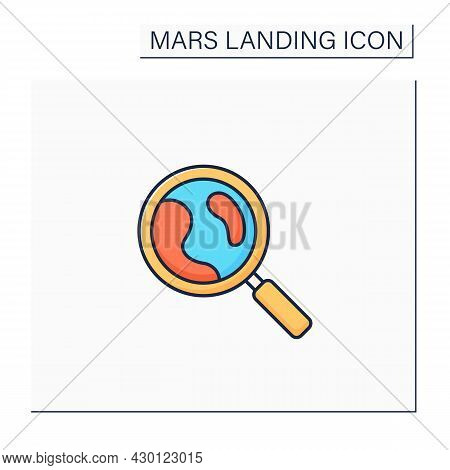 Mars Exploration Color Icon. Planet Research. Searching For New Lifes. Mars Landing Concept. Isolate