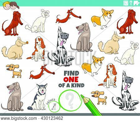 Cartoon Illustration Of Find One Of A Kind Picture Educational Game With Purebred Dogs Comic Animal