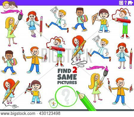 Cartoon Illustration Of Finding Two Same Pictures Educational Game With Comic Pupils School Children