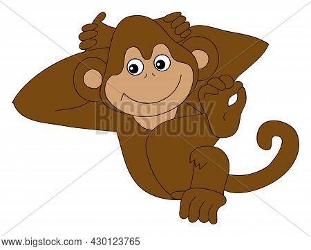 Cute Funny Happy Monkey Resting. Vector Monkey. Baby Monkey Vector Illustration