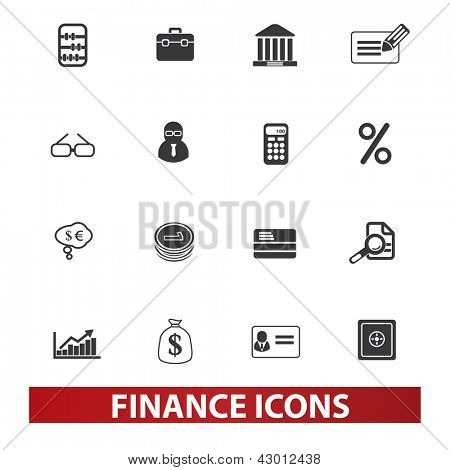 finance, money icons set, vector