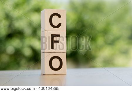The Word Cfo - Chief Financial Officer, Built From Wooden Cubes Outdoors On The Background Of Nature