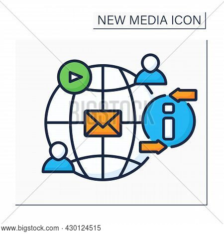 Social Networks Color Icon. Social Media Platform. Exchange Messages. Communication With People. Glo