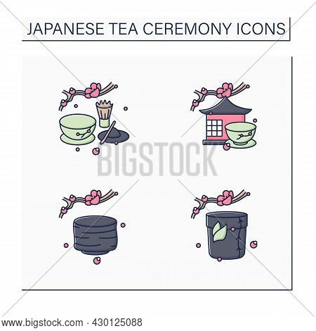 Japanese Tea Ceremony Color Icons Set. Tea Caddy, Bowl, Room, Matcha. Japan Ancient Tradition. Tea C