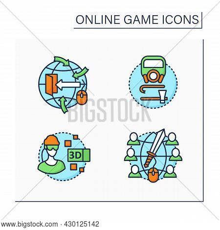 Online Game Color Icons Set. Different Game Types. Open World Gaming, Survival, 3d Gameplay, Massive