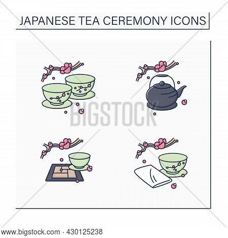 Japanese Tea Ceremony Color Icons Set. Japanese Tea Cups, Teapot, Tatami Mat, Chakin. Japan Ancient