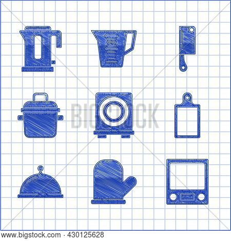 Set Electric Stove, Oven Glove, Electronic Scales, Cutting Board, Covered With Tray Of Food, Cooking