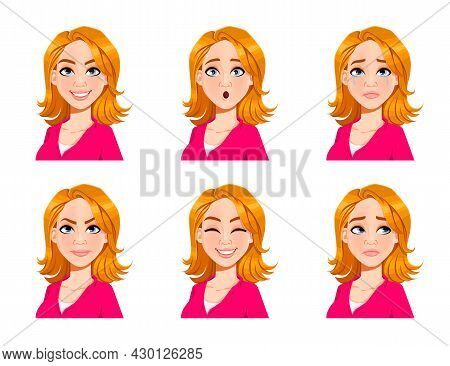 Face Expressions Of Blond Woman. Set Of Six Various Female Emotions. Beautiful Cartoon Character. Ve