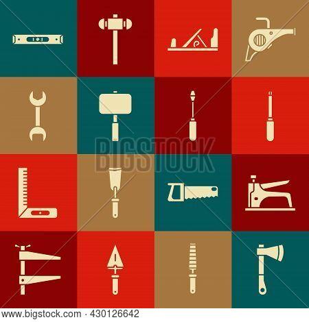 Set Wooden Axe, Construction Stapler, Screwdriver, Plane Tool, Sledgehammer, Wrench Spanner, Bubble