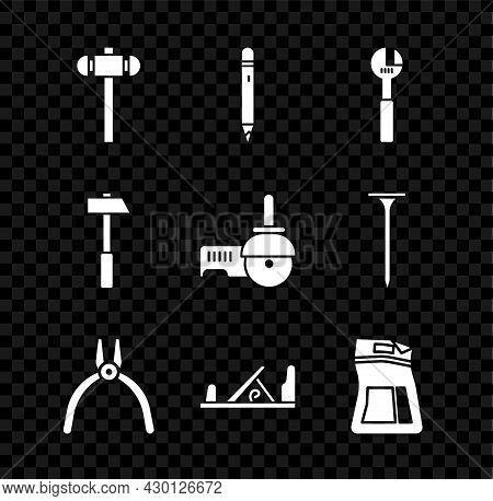 Set Sledgehammer, Pencil With Eraser, Adjustable Wrench, Pliers Tool, Wood Plane, Cement Bag, Hammer