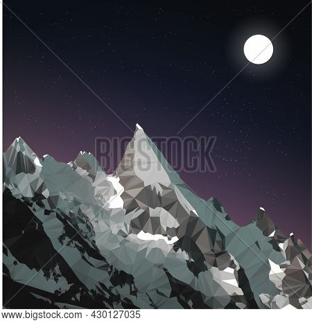 Vector Illustration Of A Starry Sky And Mountains. Icon Or Natural Mascot. Twilight And Mountains. R