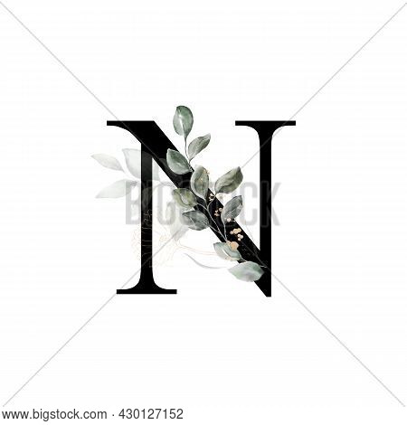 Capital Letter N Decorated With Golden Flower And Leaves. Letter Of The English Alphabet With Floral