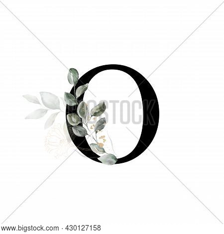 Capital Letter O Decorated With Golden Flower And Leaves. Letter Of The English Alphabet With Floral