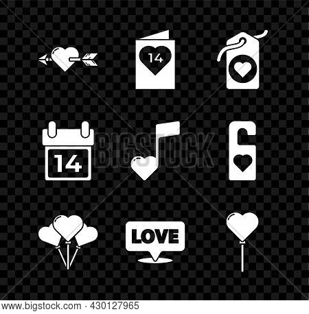 Set Amour With Heart And Arrow, Valentines Day Flyer, Heart Tag, Balloons Form Of, Speech Bubble Tex
