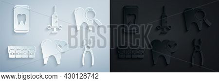 Set Tooth Whitening Concept, Dental Search, Teeth With Braces, Pliers, Medical Syringe And Online De
