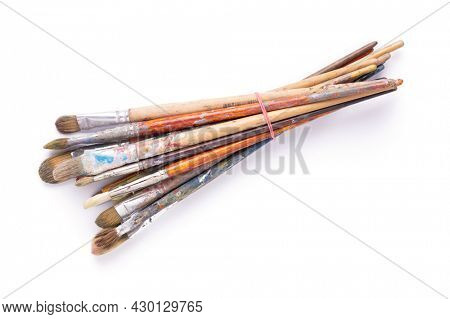 Paint brush for art painting isolated on white background. Paintbrush for oil painting as artistic paint still life. Abstract art concept