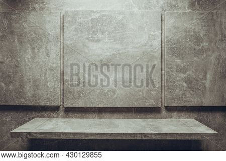 Abstract grey background texture at table or wall. Picture frame at gray wall background surface