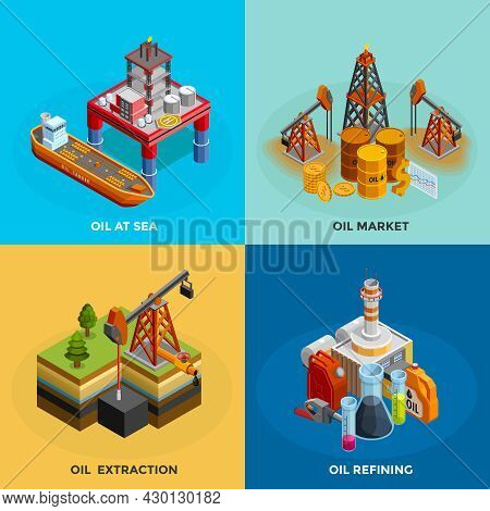 Oil Industry 4 Isometric Icons Square Poster With Sea Platform Refinery And Market Symbols Isolated