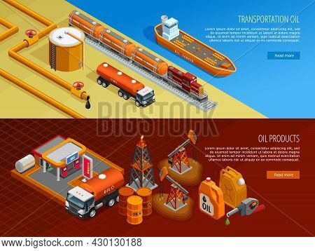 Gas Oil Industry Storage And Transportation Facilities 2 Isometric Horizontal Banners With Filling S