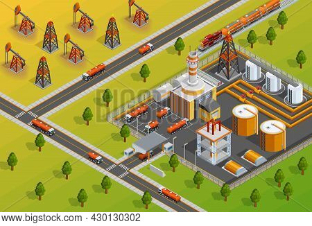 Petroleum Industrial Refinery Plant Facility For Processing Crude Oil In Gasoline And Diesel Fuel Is