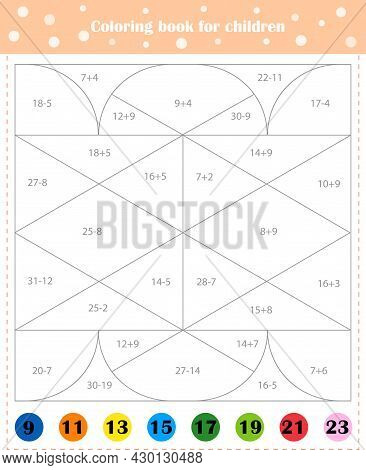Mathematical Coloring Book For Children. Addition Examples. Worksheet. Vector Illustration