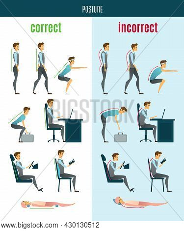 Correct And Incorrect Posture Flat Icons With Men In Standing Sitting And Lying Poses Isolated Vecto