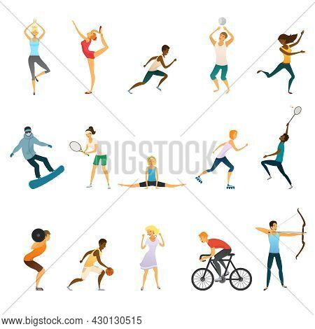 Sport People Flat Colored Icons Set Of Young Men And Women Doing Yoga And Gymnastics Playing Tennis