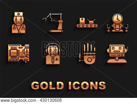 Set Worker Robot, Robot And Digital Time Manager, Mechanical Hand, Printed Circuit Board Pcb, Convey